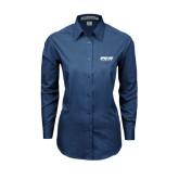 Ladies Deep Blue Tonal Pattern Long Sleeve Shirt-Upward Sports