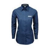 Ladies Deep Blue Tonal Pattern Long Sleeve Shirt-Upward Sports