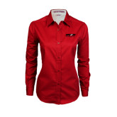 Ladies Red Twill Button Down Long Sleeve-Upward Sports