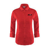 Ladies Red House Red 3/4 Sleeve Shirt-Upward Sports