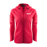 Ladies Tech Fleece Full Zip Hot Pink Hooded Jacket-Upward Sports