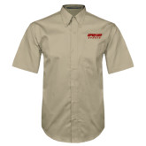 Khaki Twill Button Down Short Sleeve-Upward Sports