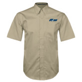Khaki Twill Button Down Short Sleeve-Upward Stars