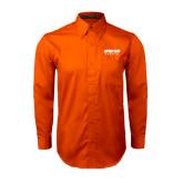 Orange Twill Button Down Long Sleeve-Upward Sports