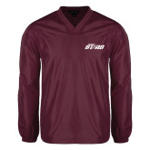 V Neck Maroon Raglan Windshirt-Upward Stars