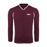 V Neck Maroon Raglan Windshirt-Upward Sports