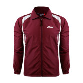 Colorblock Maroon/White Wind Jacket-Upward Stars