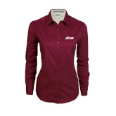 Ladies Maroon Twill Button Down Long Sleeve-Upward Stars