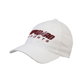 White OttoFlex Unstructured Low Profile Hat-Upward Sports