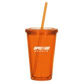 Madison Double Wall Orange Tumbler w/Straw 16oz-Upward Sports