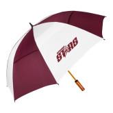 62 Inch Maroon/White Umbrella-Upward Stars