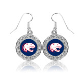Crystal Studded Round Pendant Silver Dangle Earrings-Jag Head