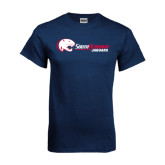 Navy T Shirt-Jaguar Head w/ Flat Logo