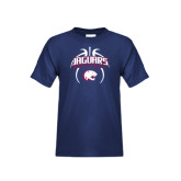 Youth Navy T Shirt-Jaguars Basketball Arched In Ball