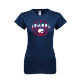 Next Level Ladies SoftStyle Junior Fitted Navy Tee-Jaguars Basketball In Ball