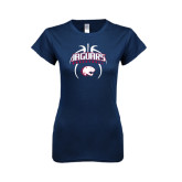 Next Level Ladies SoftStyle Junior Fitted Navy Tee-Jaguars Basketball Arched In Ball