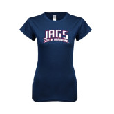 Next Level Ladies SoftStyle Junior Fitted Navy Tee-Jags South Alabama Arched