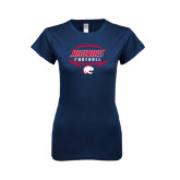 Next Level Ladies SoftStyle Junior Fitted Navy Tee-Jaguars Football In Ball