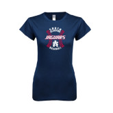 Next Level Ladies SoftStyle Junior Fitted Navy Tee-Jaguars Baseball Seams