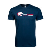 Next Level SoftStyle Navy T Shirt-Jaguar Head w/ Flat Logo