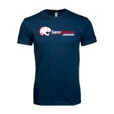 Next Level SoftStyle Navy T Shirt-Jaguar Head w/ Flat Logo