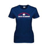 Ladies Navy T Shirt-South Alabama Football Arched