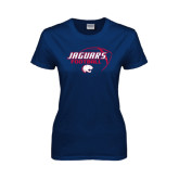 Ladies Navy T Shirt-Jaguars Football Stacked