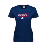 Ladies Navy T Shirt-Jaguars Baseball Flying Ball