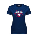 Ladies Navy T Shirt-Jaguars Basketball In Ball