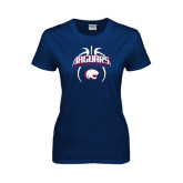 Ladies Navy T Shirt-Jaguars Basketball Arched In Ball