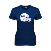Ladies Navy T Shirt-Jags Helmet
