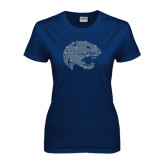 Ladies Navy T Shirt-Jaguar Head Rhinestones