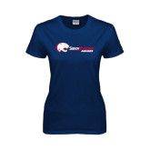 Ladies Navy T Shirt-Jaguar Head w/ Flat Logo