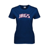 Ladies Navy T Shirt-Jags Arched