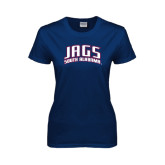Ladies Navy T Shirt-Jags South Alabama Arched