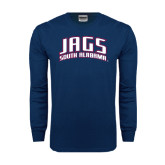 Navy Long Sleeve T Shirt-Jags South Alabama Arched