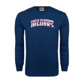 Navy Long Sleeve T Shirt-South Alabama Jaguars Arched