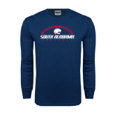 Navy Long Sleeve T Shirt-South Alabama Football Arched