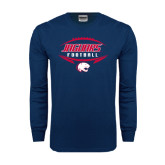 Navy Long Sleeve T Shirt-Jaguars Football In Ball