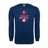 Navy Long Sleeve T Shirt-Jags Football Tall