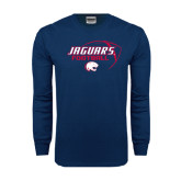 Navy Long Sleeve T Shirt-Jaguars Football Stacked