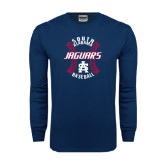 Navy Long Sleeve T Shirt-Jaguars Baseball Seams