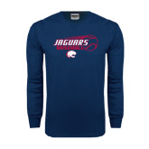 Navy Long Sleeve T Shirt-Jaguars Baseball Flying Ball