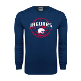 Navy Long Sleeve T Shirt-Jaguars Basketball In Ball