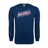 Navy Long Sleeve T Shirt-South Alabama Jaguars Basketball Slanted