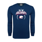 Navy Long Sleeve T Shirt-Jaguars Basketball Arched In Ball