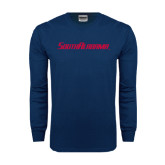 Navy Long Sleeve T Shirt-South Alabama Flat Logo