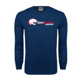 Navy Long Sleeve T Shirt-Jaguar Head w/ Flat Logo