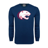 Navy Long Sleeve T Shirt-Jag Head Distressed