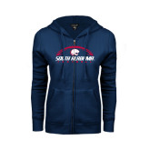 ENZA Ladies Navy Fleece Full Zip Hoodie-South Alabama Football Arched